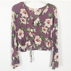 (3 for $25) BP Purple Floral Cropped Top Size S